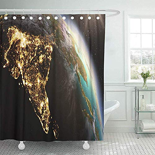 (Staroden Shower Curtains 72 x 72 Inches Green India Planet Earth Asia Zone of This by NASA Blue Globe Satellite Map Waterproof Polyester Fabric Bath Decoration for Bathroom Curtain Sets)