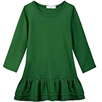 Arshiner Girls Cotton Long Sleeve A-Line Ruffle Hem Dress for School, Green, ,Green,130(Age for 7-8Y)