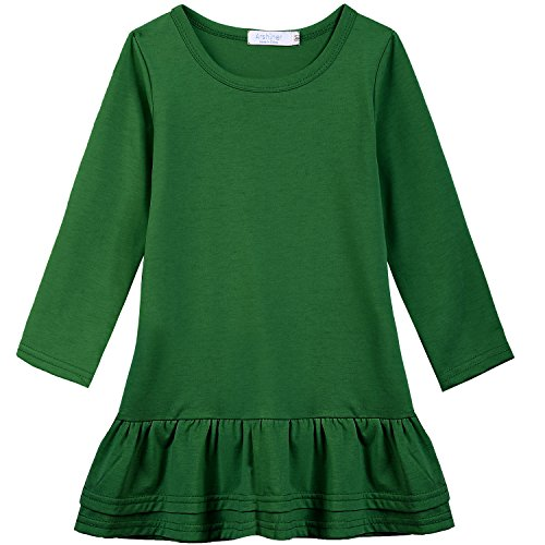 Arshiner Girls Cotton Long Sleeve A-Line Ruffle Hem Dress for School, Green, ,Green,120(Age for 5-6Y)