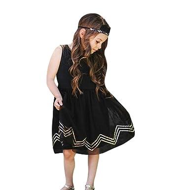 Pinklu Lentejuelas Para Niños Corrugado Vestido Negro Sin