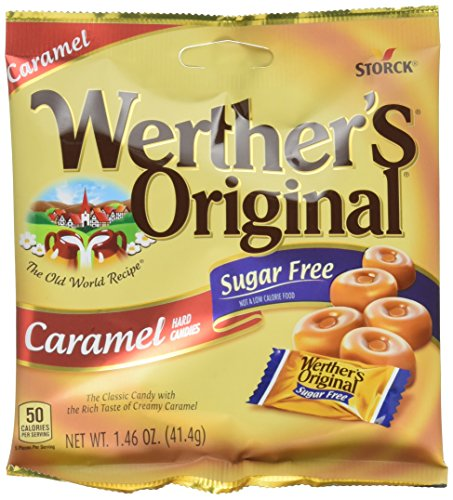 WERTHER'S ORIGINAL Sugar Free Caramel Hard Candy, 1.46 Ounce Bag (Pack of 12), Hard Candy, Bulk Candy, Individually Wrapped Candy Caramels, Caramel Candy Sweets, Bag of Candy, Hard Candy -