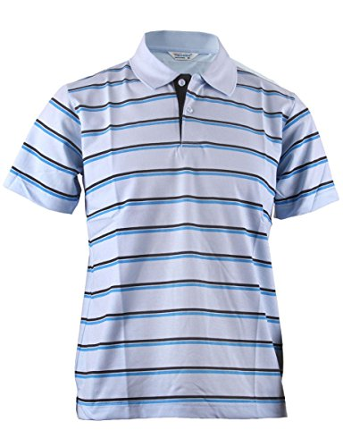 BCPOLO Men's Stripe Pique Polo Shirt Short Sleeve Polo Shirt-Sky Blue XS