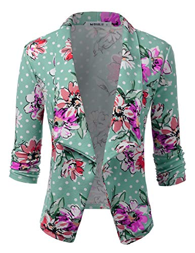 (CLOVERY Women's 3/4 Sleeve Open Front Blazer Long Sleeve Slim Fit Work Office Cardigan Jacket MINTFLOWER M)