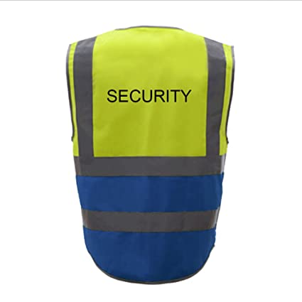 f77cb7d7e18 GOGO SECURITY 8 Pockets Hi Vis Safety Vest-Yellow/Blue-XL - - Amazon.com