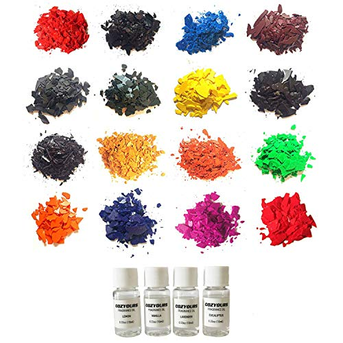 CozYours Candle Color Wax Dye & Fragrance Oils 16/4 Pack, for Candle Making; E-Book Included!