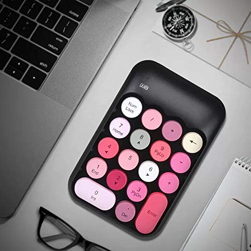 Onlywe 2.4G Wireless Number Pad,Portable Cute 18-Round Key Keypad Financial Accounting Numeric Keypad Keyboard for Laptop,PC,Desktop,Notebook,etc with USB Receiver (Black Keypad only)
