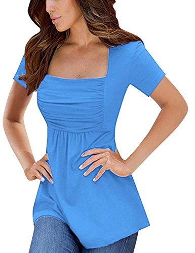 Empire Blue Apparel - Yesfashion Womens Square Neck Ruched Tops Empire Waist Tunics Short Sleeve Blue XL