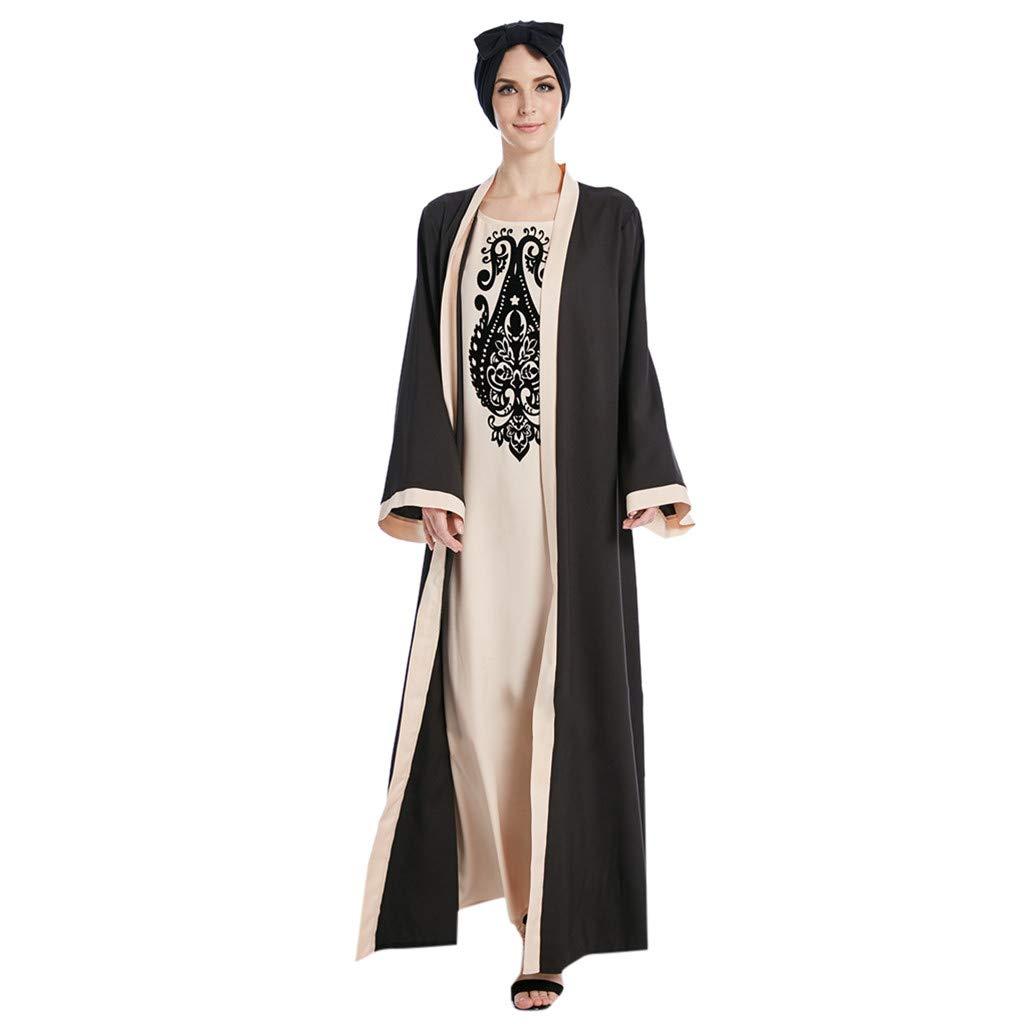 Muslim Women Modest Maxi Dress Embroidered Abaya Caftan Elegant Turkey Long Robe Slim Ethnic Style Noble Long Dress (S, Black)