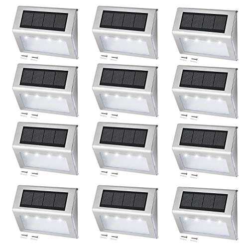 [12 Pack] EASTERNSTAR Solar Step Lights 4 LED Solar Powered Deck Lights Waterproof Stainless Steel Outdoor White Lighting for Stair Patio Fence Pathway Driveway