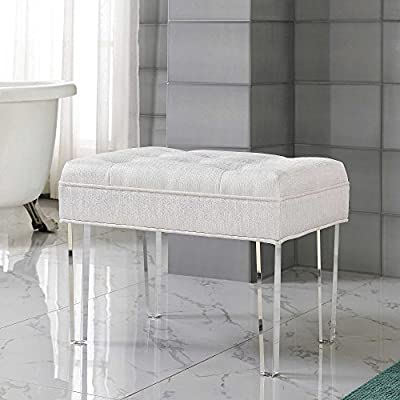 White Pearl Cushioned Vanity Bench with Clear Acrylic Legs