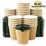 Kitchen & Housewares : 12 OZ Triple Walled Disposable Coffee Cups with Lids 85 Set, No Sleeves Needed, Ripple Insulated To Go Coffee Cups and Multipurpose Lids for Hot Beverage. Eco-Friendly Reusable Paper Cups
