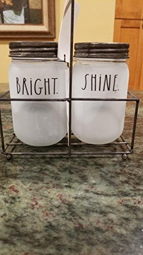 Rae Dunn by Magenta SHINE and BRIGHT in large letters 2 Mason Jar Set of Tea Light Candle Holders in Frosted Glass Mason Jars with Metal and Wood Handled Rack Carrier.