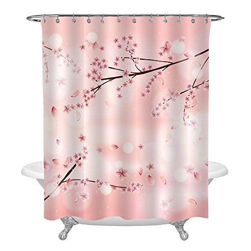 MitoVilla Chic Coral Cherry Blossom Tree Shower Curtain for Women and Ladies Bathroom Shower Decorations, Vivid Spring Flowers Pattern Painting Waterproof Polyester Fabric, 72 x 72 inches