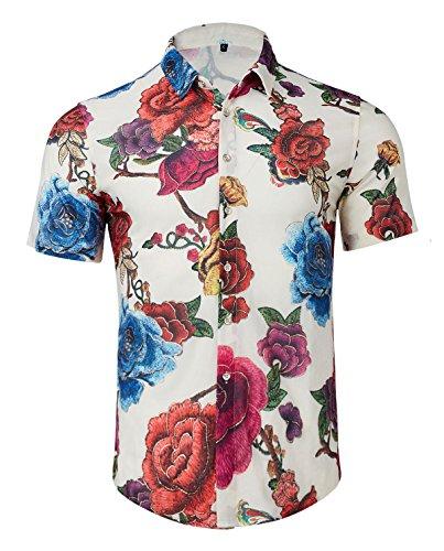 ral Print Hawaiian Tropical Button Down Casual Short Sleeve Shirt (8617-Rose Flower, X-Large) ()