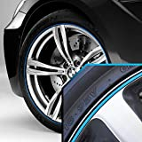 Wheel Bands Sky Blue in Black Pinstripe Edge Trim for BMW I3 13-22'' Rims