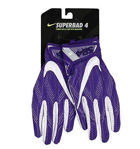 NIKE Men's SuperBad 4 Football Receiver Gloves Small Purple White ()