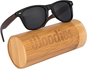 WOODIES Walnut Wood Wayfarer Sunglasses in Bamboo Tube Packaging
