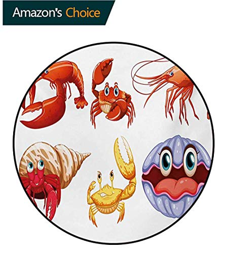 (RUGSMAT Crabs Modern Round Abstract Area Rug,Illustration of Sea Animals Like Crab Hermit Crab Lobster Shells Shrimp Print Non-Slip No-Shedding Kitchen Soft Floor Mat,Round-51 Inch)