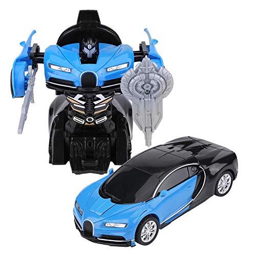 車 変形 カー ロボット 玩具 プルバックカー 遠く走れ タッチ・ぶつかり変形 車モデル プラスチック製 電池抜き 子供キッズ おもちゃ 誕生日プレゼント 3カラー(ブルー)