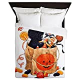 Queen Duvet Cover Halloween Kitten Candy Pumpkin
