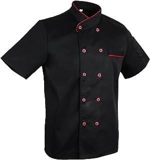 MagiDeal Cappotto Unisex Di Chefwear Della Cucina Dell'hotel Della Manica Corta Del Rivestimento Degli Adulti Unisex