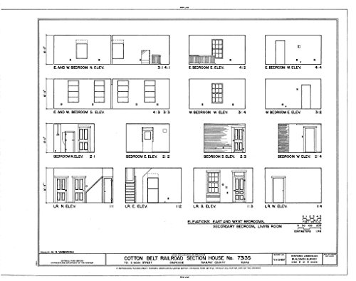 Historic Pictoric Blueprint Diagram HABS TEX,220-GRA,1- (Sheet 2 of 6) - Cotton Belt Railroad Section House No. 73135, 701 South Main Street, Grapevine, Tarrant County, TX 14in x 11in