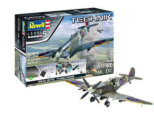 Revell RV00457 Supermarine Spitfire Mk.IXc-Technik Model Kit with Electronics, Unpainted 1