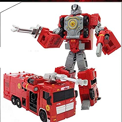 HT TOYS Alloy Deformation Robot Car Model 2 in 1 Fire Truck Transformation Robot Action Figure