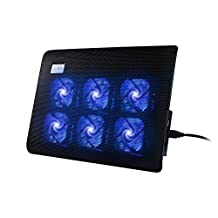 YKS Laptop Cooler Cooling Pad Notebook Computer Fan Base Plate Ultra Slim Portable for 10-15.4 inch Laptops with 6 Quiet Fans 2 USB Ports