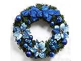 Gelaiken World Christmas Christmas Wreath Door Hanging Ornaments Room Christmas Tree Pendants for Decoration(Navy Blue)