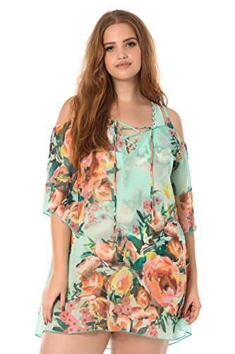 Becca-ETC-Womens-Plus-Size-High-Tea-Cold-Shoulder-Lace-Up-Front-Swim-Cover-Up-0X-Mlt
