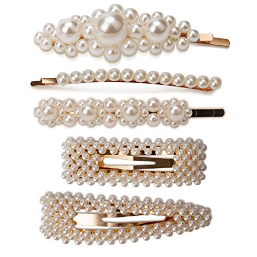 AIEX 2 Pearl Hair Clips and 3 Pearl Hair Pins for Girls Women Ladies White Artificial Pearl Hairpins Gold Hair Barrettes Set for Wedding and Any Special -