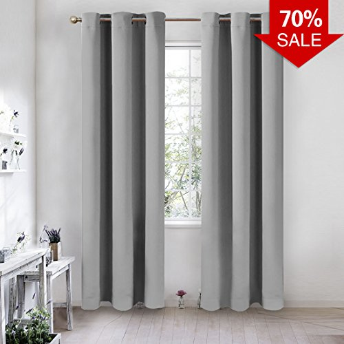 MASVIS Blackout Curtains Thermal Insulated Grommet Drapes for Bedroom (2 Panels, 42 x 84 -Inch, Grey) (Curtains 90 60 X)