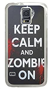 Keep Calm Zombie On PC Transparent Hard Case Cover Skin For Samsung Galaxy S5 I9600 hjbrhga1544