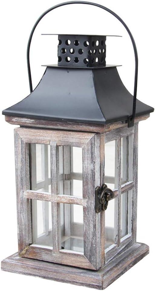 rustikale Landhausstil Teelichthalter FADDR Holz /& Metall Kerze Laterne Hurricane Lampe mit Griff h/ängende sch/äbige Sturmlaternen Garten Hochzeitsdekoration