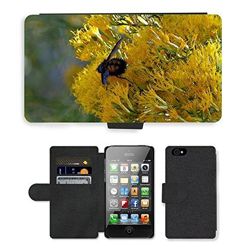 Just Phone Cases PU Leather Flip Custodia Protettiva Case Cover per // M00128503 Yellow Bush Insecte Macro Close-Up // Apple iPhone 4 4S 4G
