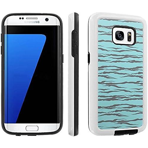 [Galaxy S7] [5.1 Screen] Armor Case [Skinguardz] [White/Black] Shock Absorbent Hybrid - [Blue Grey Zebra] for Samsung Galaxy S7 / GS7 Sales
