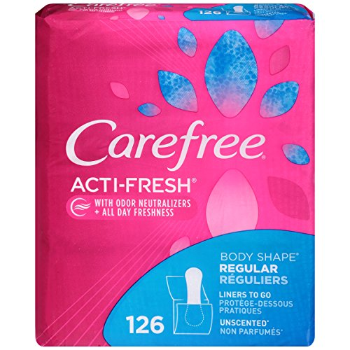 Carefree Acti-Fresh Body Shape Ultra-Thin Panty Liners, Regular To Go, Unscented - 126 Count