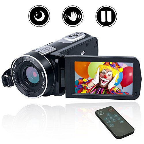 Camcorder Video Camera Full HD Digital camera 1080P 24.0MP Vlogging Camera Night Vision camcorders with Remote Controller by COMI