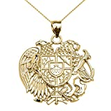 10k Yellow Gold Armenian National Coat Of Arms Eagle and Lion Pendant Necklace, 22''