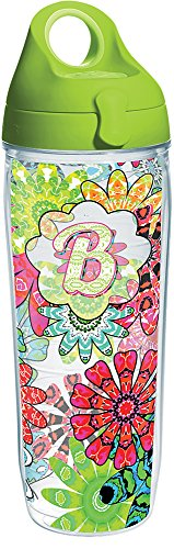 Tervis 1270662 INITIAL-B Flower Burst Tumbler with Wrap and Lime Green Lid 24oz Water Bottle, Clear