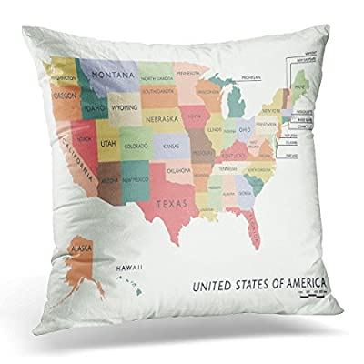 TOMKEYS Throw Pillow Cover Vintage United Colorful Usa Map with Name of States Washington Decorative Pillow Case Home Decor Square Pillowcase