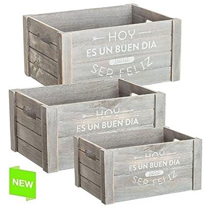 Juego 3 cajas multiusos original con mensaje feliz de madera