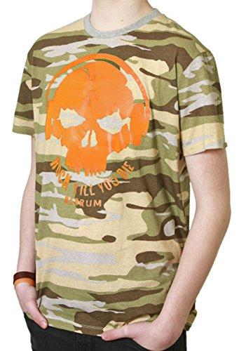 Redrum T-Shirt Oberteil Top kurzaermelig kurze Aermel 100% Baumwolle Camo beige orange