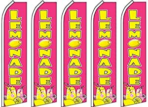 5 Swooper Flutter Flags LEMONADE Lime Juice Pink Yellow