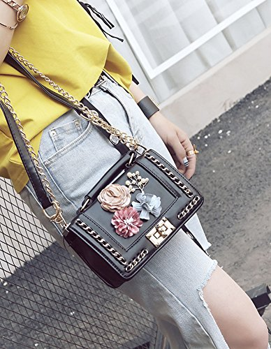 Purse Shoulder Silk Bag Clutch Crossbody Flower Black Women's QZUnique Handbag Summer YAZqRAzw