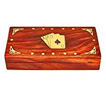 Handcrafted Mothers Day Gift Ideas Classic Wooden Playing Card Holder Deck Box Storage Case Organizer With 3 Sets of Premium Quality 'Ace' Playing Cards Included Birthday Housewarming Gifts For Adults