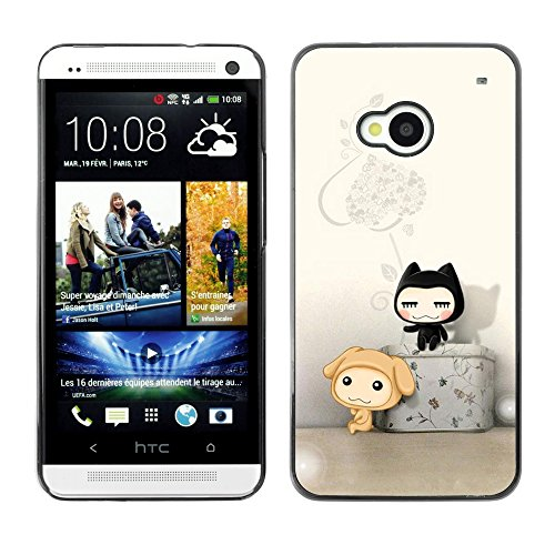 Soft Silicone Rubber Case Hard Cover Protective Accessory Compatible with HTC ONE M7 2013 - Cute Cat Friends