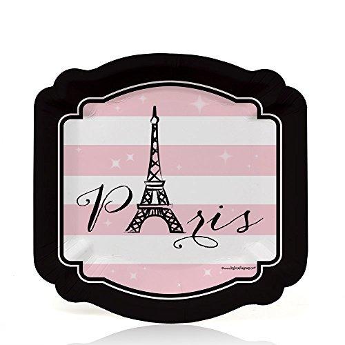 Paris, Ooh La La - Paris Themed Baby Shower or Birthday Party Dessert Plates (8 count) - Paris Dessert Plate