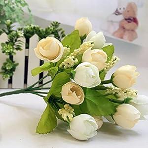 Inverlee 1Pcs Artificial Flowers Silk Leaf Rose Floral Fake Flowers Wedding Bridal Bouquet DIY Home Garden Decor (E) 74